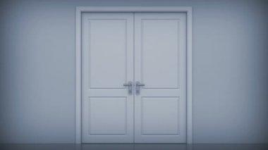 двери, открывающиеся на яркий свет. альфа-канал входит в стоимость номера. hd 1080. — Стоковое видео