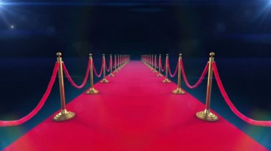 Unrolling Red Carpet animation and paparazzi camera flashes. — Stock Video