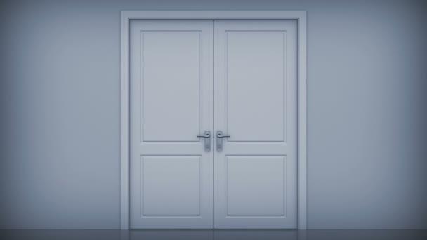 Puertas que se abren a una luz brillante. se incluye el canal alfa. Hd 1080. — Vídeo de stock