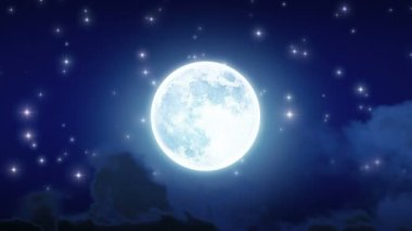 Beautiful Moon Shine with Stars and Clouds. Looped animation. HD 1080. — Stock Video