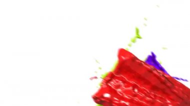 Colored paint splashes in slow motion and freeze motion HD. — Stock Video
