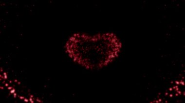Heart made of red particles in looped animation. — Stock Video