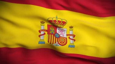 Highly detailed flag of Spain ripples in the wind. Looped — Stock Video