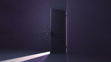 Door opening to a heaven light — Stock Video
