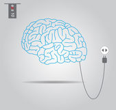 Brain connecting with electric socket - vector illustration — Stock Vector