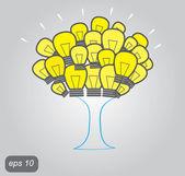 Tree made of light bulbs — Stock Vector