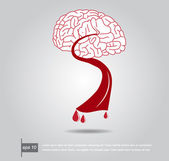 Brain and blood vector icon — Stock Vector