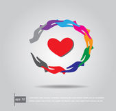 Red heart in circle hand, vector icon — Stock Vector