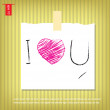 Text i love you in Note Papers with a sticky tape stuck on the w — Stock Vector #41175251