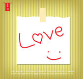 Text of love writing hand in Note Papers with a sticky tape stuc — Stock Vector