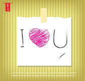 Text i love you in Note Papers with a sticky tape stuck on the w — Stock Vector