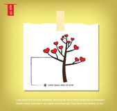 Tree and heart icon vector  in Note Papers with a sticky tape st — Vettoriale Stock