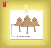 Vector three christmas tree icon  in Note Papers with a sticky t — Stock Vector
