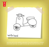 Motorcycle write hand vector icon — Stock Vector