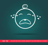 Baby crying vector icon — Stock Vector