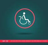Disabled in red circle vector icon — Stock Vector