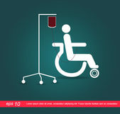 Patient on wheelchair with the blood vector icon — Stock Vector