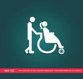 Pregnant on wheelchair vector icon — Stock Vector