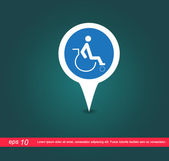Disabled map sign vector icon — Vector de stock