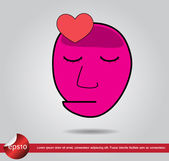 Head human heart vector icon — Stock Vector