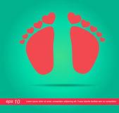Serca i stóp dzieci ikona — Zdjęcie stockowe