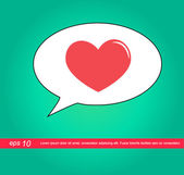 Text box speech heart vector icon — Stock Vector