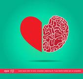 Heart and brain vector icon — Stock Vector