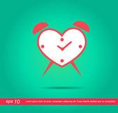 Kalp saat vektör simgesi — Stok Vektör