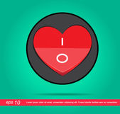 Heart switch vector icon — Stock Vector