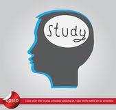 Human brain text study — Wektor stockowy