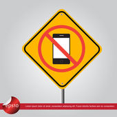 Phone in traffic sign vector icon — Vector de stock