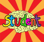 Text student amd  brain — Stock Vector