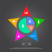 Business concept icon presentation with star — Vettoriale Stock