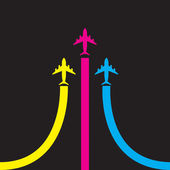 Colorful airplanes vector icon — Stockvektor