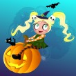 Little Witch on pumkin — Stock Vector