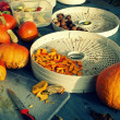 Autumn in the garden - hokkaido pumpkin, apples and nuts — Stock Photo