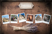 Polaroid photo frame with vacation photos from South France — Stock Photo