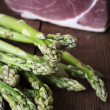 Green asparagus with bacon — Stok fotoğraf