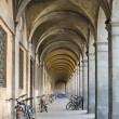 Arcades with Bicycles in Lucca,Tuscany, Italy — Stock Photo