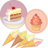 Illustration set Cake ice cream — Vector de stock