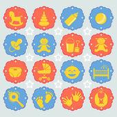 Vector illustration set of children's icon — Wektor stockowy