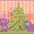 Vector illustration of a cat in Christmas trees — Stock Vector