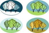 Vector illustration of a tree seasons — Stock Vector