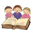 Vector children reading a book — Stock Vector