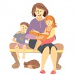 Vector mother reading a book to children — Stock Vector