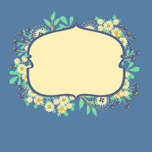 Vector frame with flowers and berries — Cтоковый вектор
