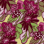 Flowers seamless doodle pattern vector — Stock Vector