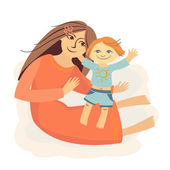 Vector mother and child — Stock Vector