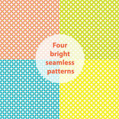 Four bright seamless patterns: pink, blue, green, yellow — Vettoriale Stock