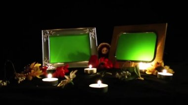 Photo Frames and Candles — Vídeo de stock